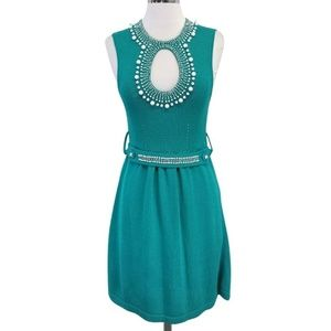 Nanatte Lepore teal knit sleeveless beaded dress m